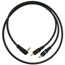 Mogami Patch IP Right-Angle 3.5mm TRS to Dual RCA Cable