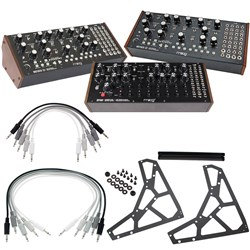 Moog Semi-Modular Package w/ 2x Mother-32, 1x DFAM, 3-Tier Rack Kit & 10x Patch Cables