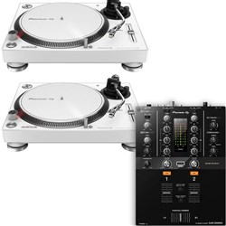 Pioneer PLX500 Turntable (White) & DJM250MK2 Mixer Package