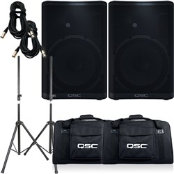 QSC CP12 PA Speaker Pack w/ Tote Bags, Stands & 10m XLR Cables (Pair)