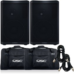 QSC CP8 PA Speaker Pack w/ Tote Bags & 10m XLR Cables (Pair)