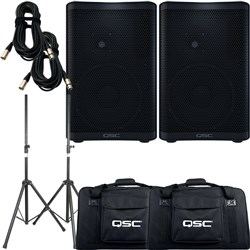 QSC CP8 PA Speaker Pack w/ Tote Bags, Stands & 10m XLR Cables (Pair)