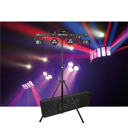 Showtec QFX (Derby x 2, Laser, Strobe, LED Par x 2) Lighting System with Stand