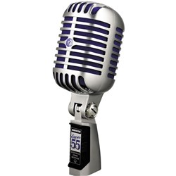 Shure Super 55 Vintage Dynamic Birdcage-Style Vocal Mic (Chrome/Blue)