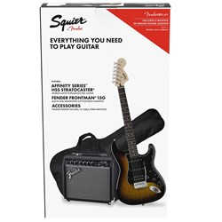 Squier Stratocaster HSS Pack Laurel Fingerboard (Brown Sunburst) w/ 15w Amp & Gig Bag