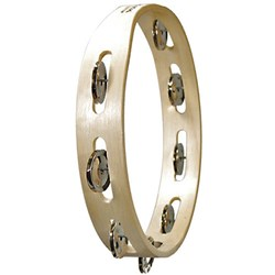 Tycoon Percussion Single-row Wooden Tambourine w/ Bright Brass Jingles