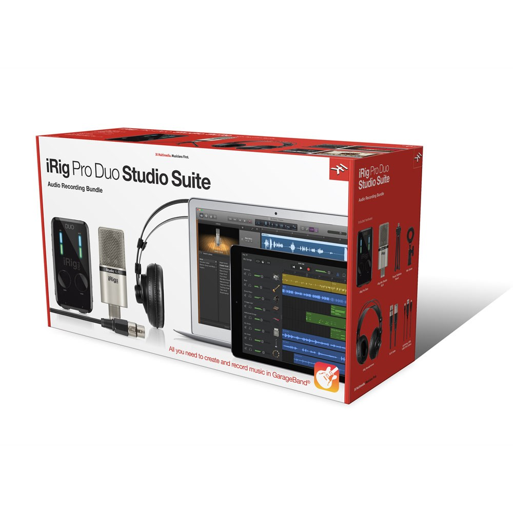 IK Multimedia iRig Pro Duo Studio Suite w/ Mic Studio & Headphones