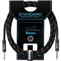Ibanez SI20 BG Woven Guitar Cable w/ 2 Straight Plugs - 20ft (Black / Green)
