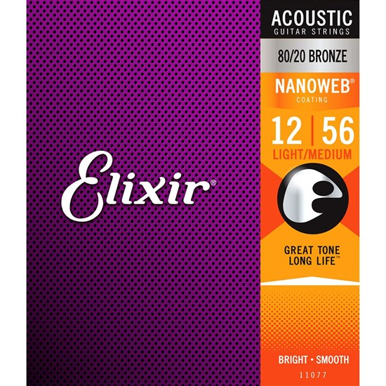 Elixir 11077 Nanoweb 80/20 Bronze Light-medium Acoustic Guitar Strings