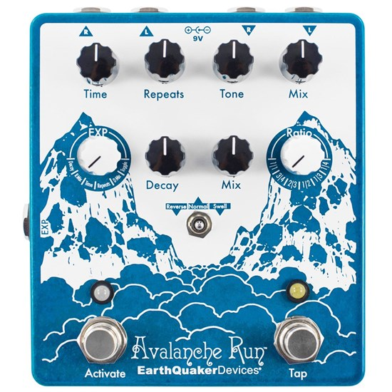 Earthquaker Devices Avalanche Run Stereo Delay & Reverb w/ Tap Tempo V2 w/ Power Supply
