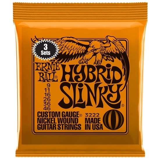 Ernie Ball Hybrid Slinky Nickel Wound Electric Guitar Strings 3-PACK - (9-46)