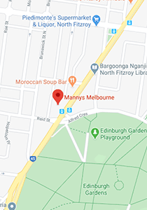 Location map of Mannys Melbourne