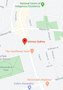 Location map of Mannys Sydney